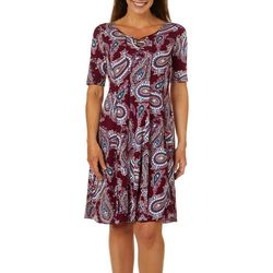 Sami & Jo Womens Paisley Textured Bead Neck Panel Dress