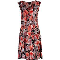 Womens Beaded Floral Short Sleeve Dress