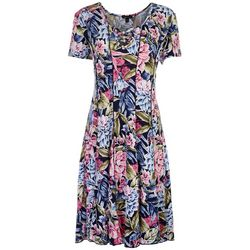 Sami & Jo Womens Floral Printed Criss Cross Beaded Dress