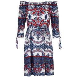 3/4 Sleeve Off The Shoulder Dress Floral