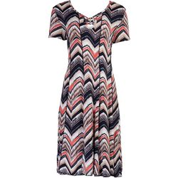 Sami & Jo Womens Beaded On The Top Print Short Sleeve Dress