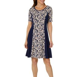 Sami & Jo Womens Scroll Print Panel Dress