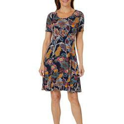 Sami & Jo Womens Floral Print X-Back Swing Dress