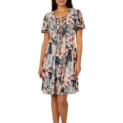 Sami & Jo Womens Floral Scroll Keyhole Panel Dress