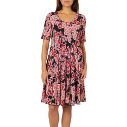 Sami & Jo Womens Floral Plaid Panel Dress