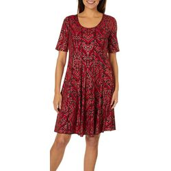 Sami & Jo Womens Metallic Scroll Print Panel Dress