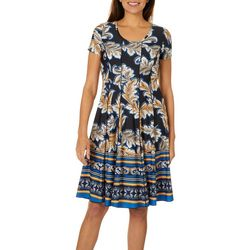 Sami & Jo Womens Leafy Border Print Panel Dress