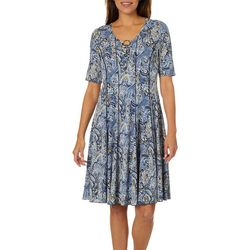 Sami & Jo Womens Floral Paisley Ring Neck Panel Dress