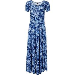 Womens Short Sleeve Panel Maxi Dress