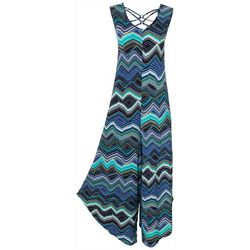 Sami & Jo Womens Sleeveless Printed Jumpsuit