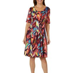 Sami & Jo Womens Watercolor Paint Print Panel Dress