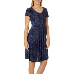 Sami & Jo Womens Textured Floral Panel Dress