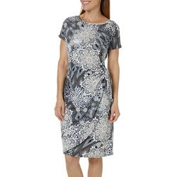 Sami & Jo Womens Mixed Medallion Faux-Wrap Dress
