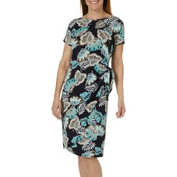 Sami & Jo Womens Leaf Print Faux-Wrap Dress