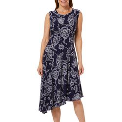 Sami & Jo Womens Floral Asymmetrical Panel Dress