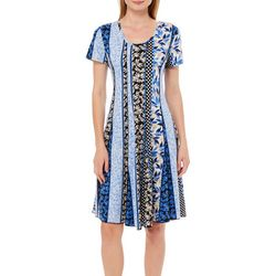 Sami & Jo Womens Mixed Floral Panel Dress