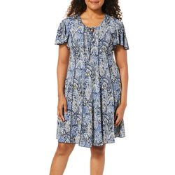 Sami & Jo Womens Floral Paisley Keyhole Panel Dress