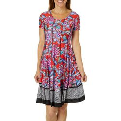 Sami & Jo Womens Floral Geometric Print Panel Dress
