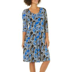 Sami & Jo Womens Leaf Print Panel Dress