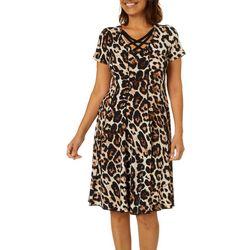 Sami & Jo Womens Leopard Print Crisscross Neck Panel Dress