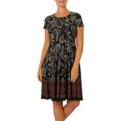 Sami & Jo Womens Floral Paisley Lattice Neck Panel Dress
