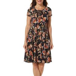 Sami & Jo Womens Floral Dot Lattice Neck Panel Dress