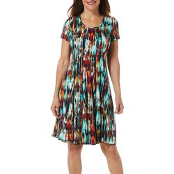 Sami & Jo Womens Watercolor Print Panel Dress