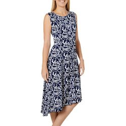 Sami & Jo Womens Floral Print Asymmetrical Hem Panel Dress