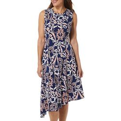 Sami & Jo Womens Scroll Puff Print Asymmetrical Hem Dress