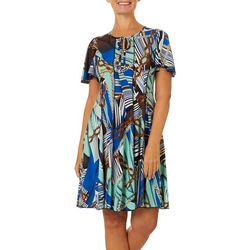 Sami & Jo Womens Chain Puff Print Flutter Sleeve Panel Dress
