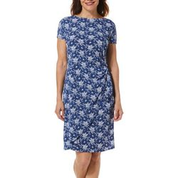 Womens Floral Puff Print Wrap Dress