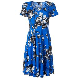 Womens Short Sleeves Rose Print Panel Dress