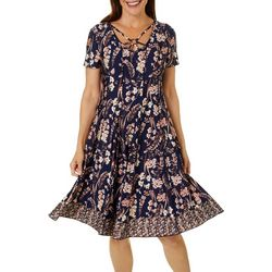 Womens Floral Border Print Panel Dress