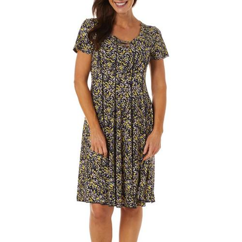 NY Collection Womens Sleeveless Printed V-Neck Dress with Solid Side Panels