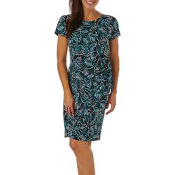 Sami & Jo Womens Leaf Puff Print Faux Wrap Dress