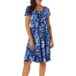 Sami & Jo Womens Tie Dye Puff Print Panel Dress