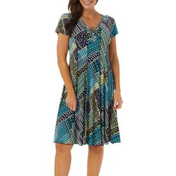 Sami & Jo Womens Patch Work Geo Puff Print Panel Dress