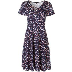 Sami & Jo Womens Short Sleeve Dotted Ring Neck Panel Dress