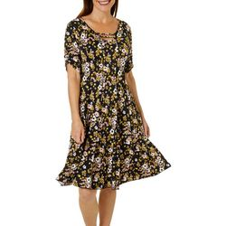 Sami & Jo Womens Ruched Sleeve Floral Print Panel Dress