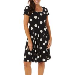Sami & Jo Womens Polka Dot Print Panel Dress