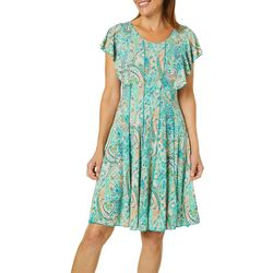 Sami & Jo Womens Paisley Print Panel Flutter Sleeve Dress