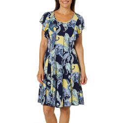 Sami & Jo Womens Paisley Print Flutter Sleeve Panel Dress