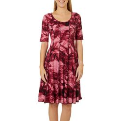 Sami & Jo Womens Textured Marble Print Panel Dress