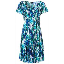 Womens Short Sleeve Ruffle Front Dress