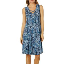 Sami & Jo Womens Crisscross Paisley Print Panel Dress