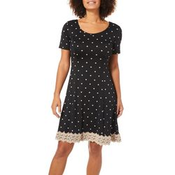 Sami & Jo Womens Polka Dot Lace Trim Sundress