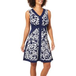 Sami & Jo Womens Scroll Puff Print Dress