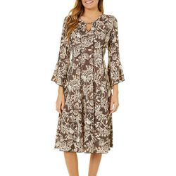 Sami & Jo Womens Faux Lace Floral Panel Dress