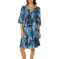 Sami & Jo Womens Abstract Ring Neck Panel Dress