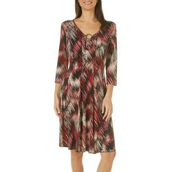 Sami & Jo Womens Scratched Ring Neck Panel Dress